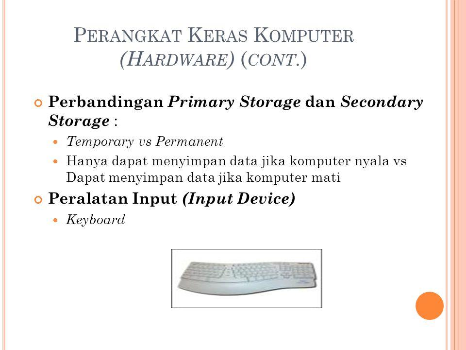 P ERANGKAT K ERAS K OMPUTER (H ARDWARE ) ( CONT. ) Perbandingan Primary Storage dan Secondary Storage : Temporary vs Permanent Hanya dapat menyimpan d