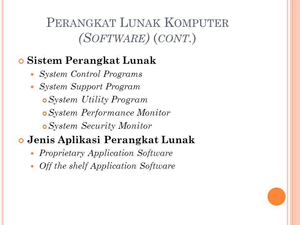 P ERANGKAT L UNAK K OMPUTER (S OFTWARE ) ( CONT. ) Sistem Perangkat Lunak System Control Programs System Support Program System Utility Program System