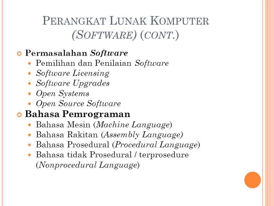 P ERANGKAT L UNAK K OMPUTER (S OFTWARE ) ( CONT. ) Permasalahan Software Pemilihan dan Penilaian Software Software Licensing Software Upgrades Open Sy