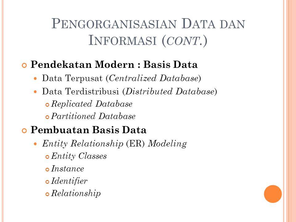 P ENGORGANISASIAN D ATA DAN I NFORMASI ( CONT. ) Pendekatan Modern : Basis Data Data Terpusat ( Centralized Database ) Data Terdistribusi ( Distribute