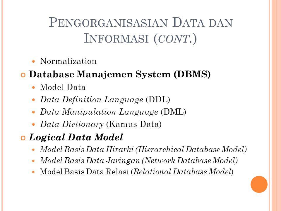 P ENGORGANISASIAN D ATA DAN I NFORMASI ( CONT. ) Normalization Database Manajemen System (DBMS) Model Data Data Definition Language (DDL) Data Manipul