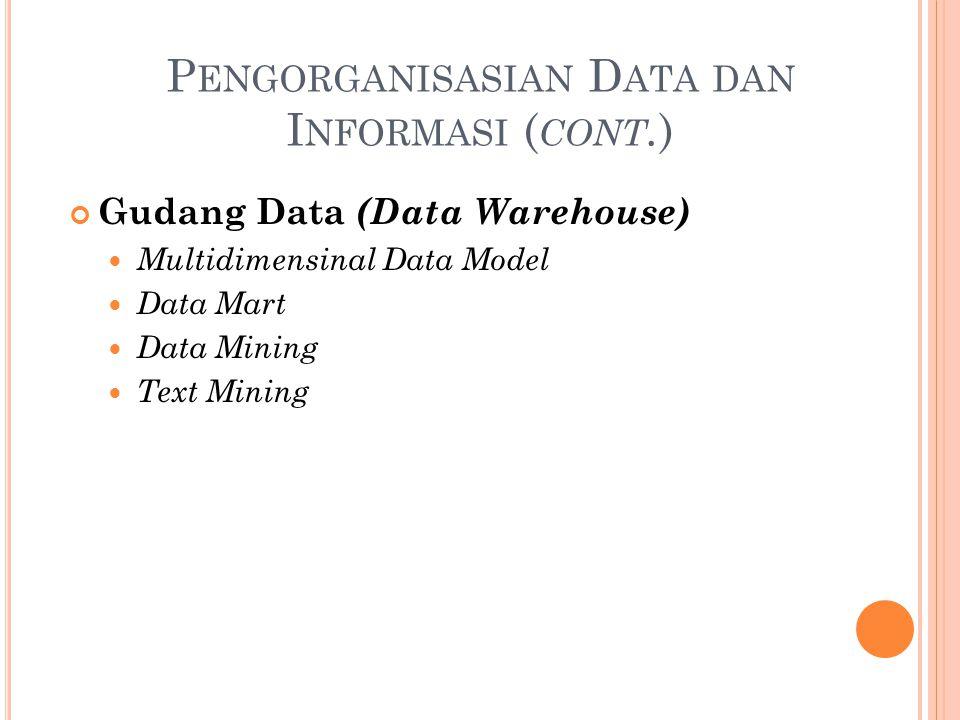 P ENGORGANISASIAN D ATA DAN I NFORMASI ( CONT. ) Gudang Data (Data Warehouse) Multidimensinal Data Model Data Mart Data Mining Text Mining