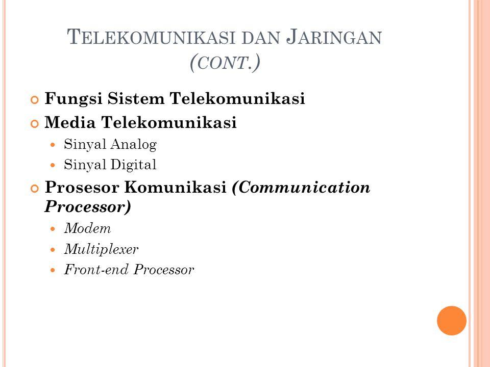 T ELEKOMUNIKASI DAN J ARINGAN ( CONT.) Fungsi Sistem Telekomunikasi Media Telekomunikasi Sinyal Analog Sinyal Digital Prosesor Komunikasi (Communicati