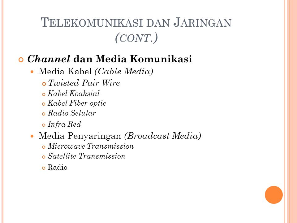 T ELEKOMUNIKASI DAN J ARINGAN ( CONT.) Channel dan Media Komunikasi Media Kabel (Cable Media) Twisted Pair Wire Kabel Koaksial Kabel Fiber optic Radio Selular Infra Red Media Penyaringan (Broadcast Media) Microwave Transmission Satellite Transmission Radio