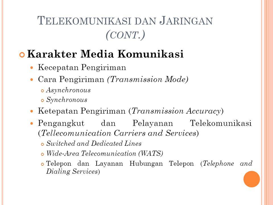 T ELEKOMUNIKASI DAN J ARINGAN ( CONT.) Karakter Media Komunikasi Kecepatan Pengiriman Cara Pengiriman (Transmission Mode) Asynchronous Synchronous Ket