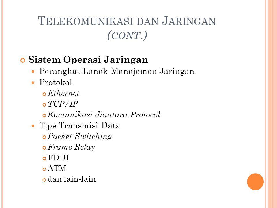 T ELEKOMUNIKASI DAN J ARINGAN ( CONT.) Sistem Operasi Jaringan Perangkat Lunak Manajemen Jaringan Protokol Ethernet TCP/IP Komunikasi diantara Protoco