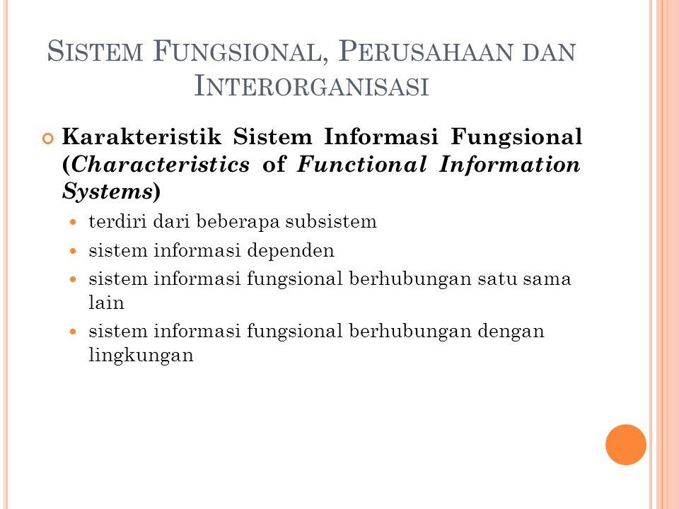S ISTEM F UNGSIONAL, P ERUSAHAAN DAN I NTERORGANISASI Karakteristik Sistem Informasi Fungsional ( Characteristics of Functional Information Systems )