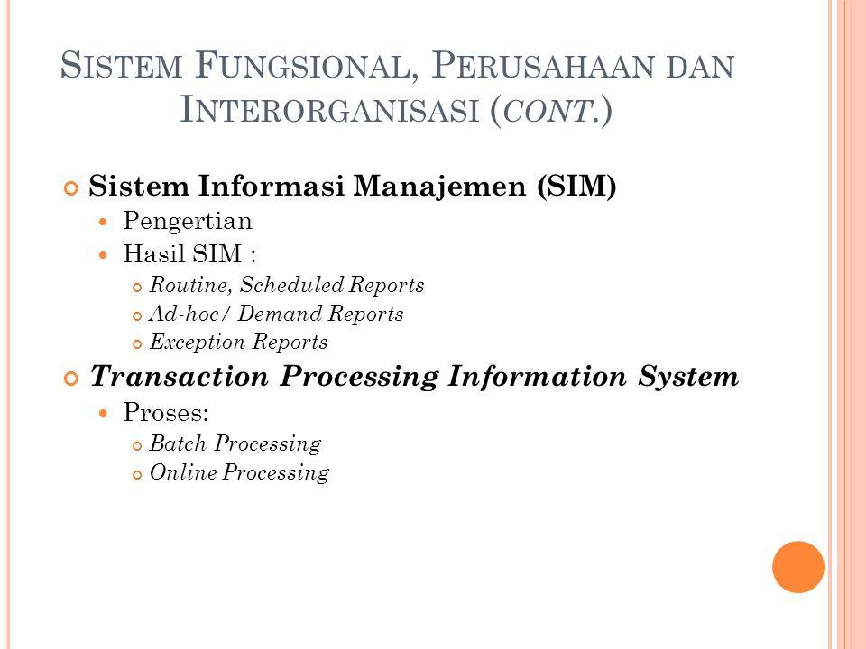 S ISTEM F UNGSIONAL, P ERUSAHAAN DAN I NTERORGANISASI ( CONT. ) Sistem Informasi Manajemen (SIM) Pengertian Hasil SIM : Routine, Scheduled Reports Ad-