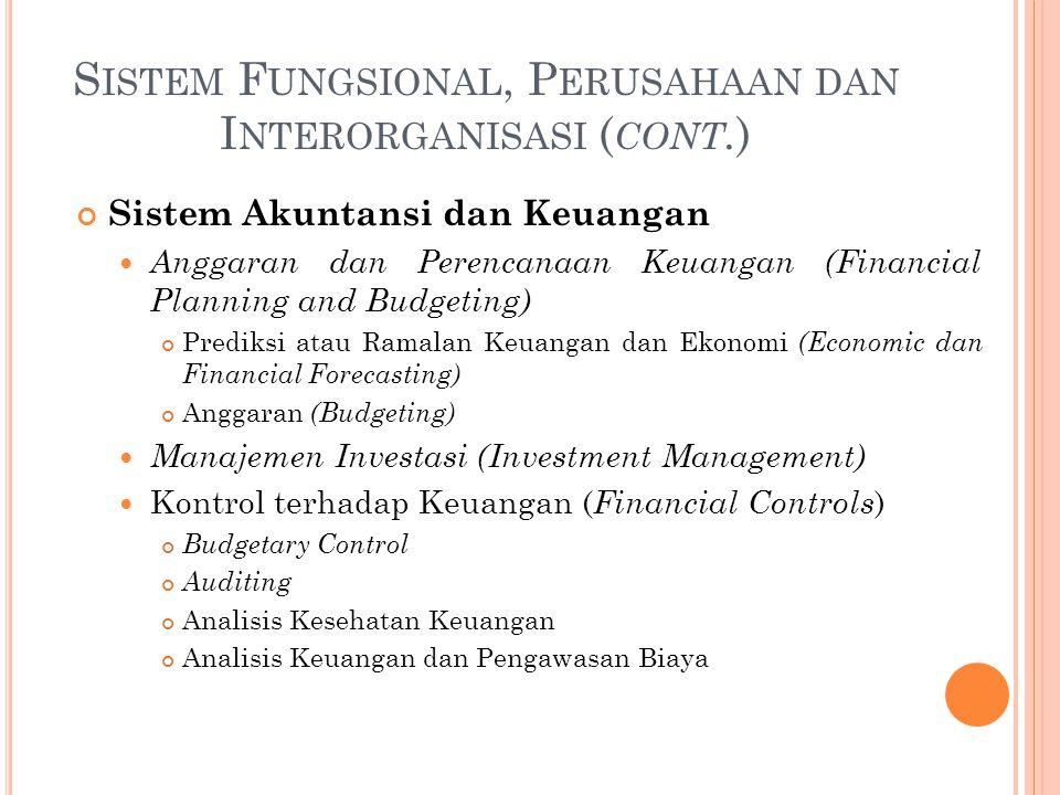 S ISTEM F UNGSIONAL, P ERUSAHAAN DAN I NTERORGANISASI ( CONT. ) Sistem Akuntansi dan Keuangan Anggaran dan Perencanaan Keuangan (Financial Planning an