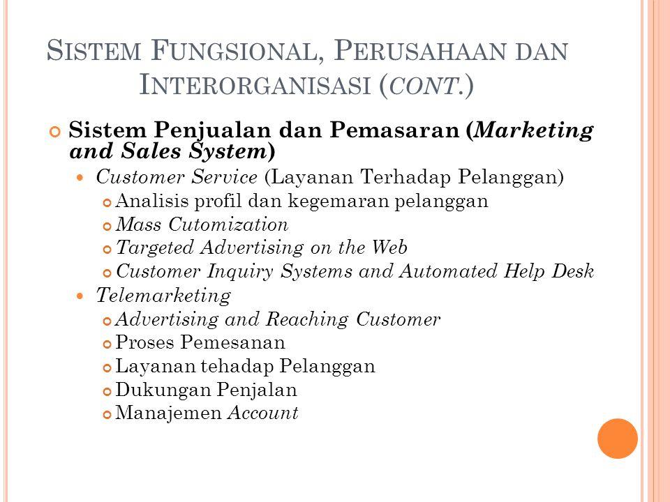 S ISTEM F UNGSIONAL, P ERUSAHAAN DAN I NTERORGANISASI ( CONT. ) Sistem Penjualan dan Pemasaran ( Marketing and Sales System ) Customer Service (Layana