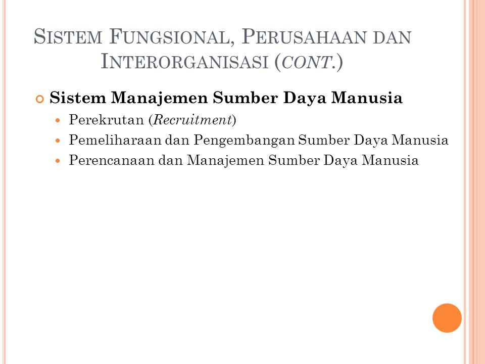 S ISTEM F UNGSIONAL, P ERUSAHAAN DAN I NTERORGANISASI ( CONT. ) Sistem Manajemen Sumber Daya Manusia Perekrutan ( Recruitment ) Pemeliharaan dan Penge