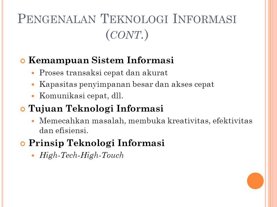P ENGENALAN T EKNOLOGI I NFORMASI ( CONT. ) Kemampuan Sistem Informasi Proses transaksi cepat dan akurat Kapasitas penyimpanan besar dan akses cepat K