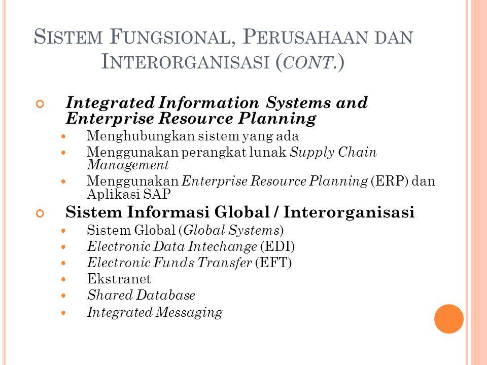 S ISTEM F UNGSIONAL, P ERUSAHAAN DAN I NTERORGANISASI ( CONT. ) Integrated Information Systems and Enterprise Resource Planning Menghubungkan sistem y