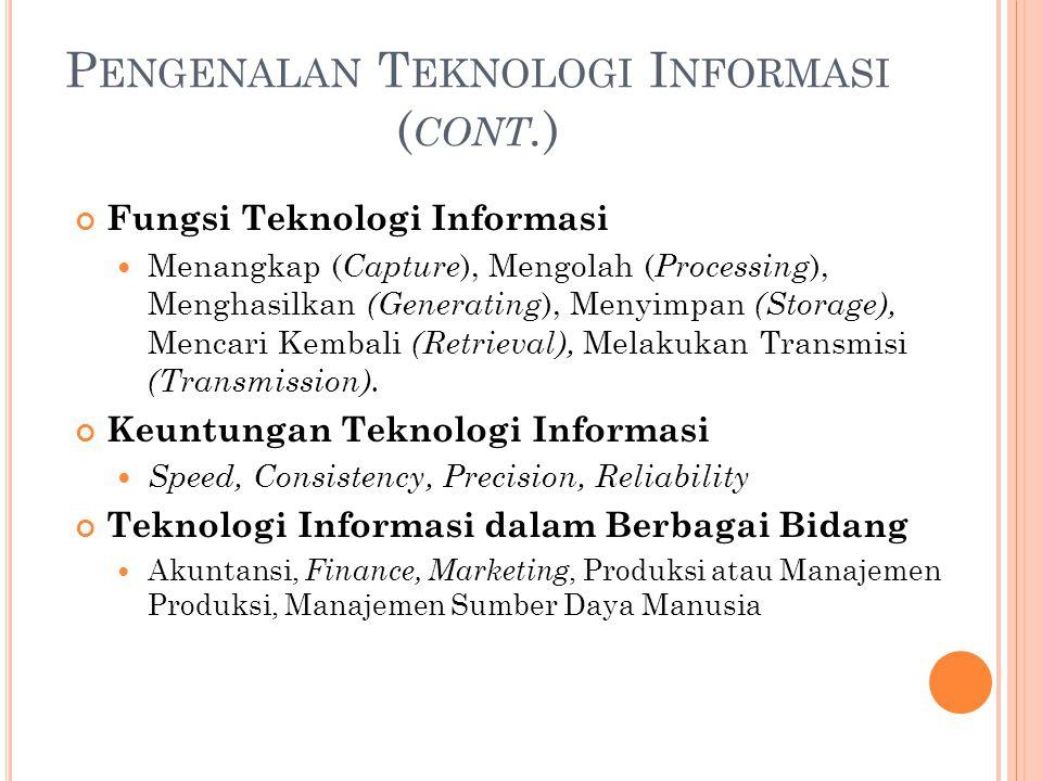 P ENGENALAN T EKNOLOGI I NFORMASI ( CONT. ) Fungsi Teknologi Informasi Menangkap ( Capture ), Mengolah ( Processing ), Menghasilkan (Generating ), Men