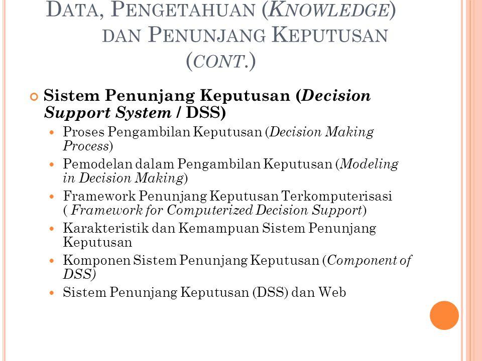 D ATA, P ENGETAHUAN ( K NOWLEDGE ) DAN P ENUNJANG K EPUTUSAN ( CONT.) Sistem Penunjang Keputusan ( Decision Support System / DSS) Proses Pengambilan K
