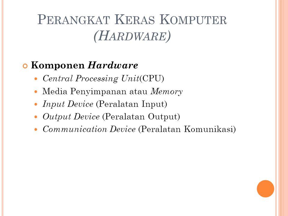 P ERANGKAT K ERAS K OMPUTER (H ARDWARE ) Komponen Hardware Central Processing Unit (CPU) Media Penyimpanan atau Memory Input Device (Peralatan Input)