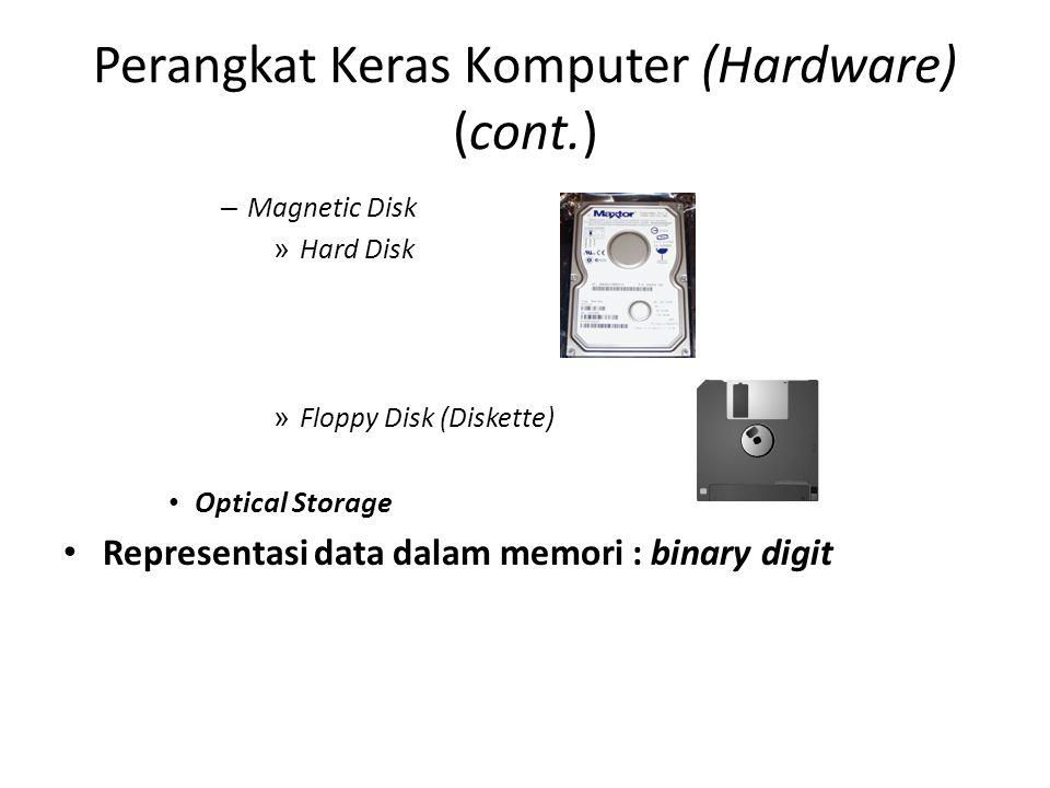 Perangkat Keras Komputer (Hardware) (cont.) – Magnetic Disk » Hard Disk » Floppy Disk (Diskette) Optical Storage Representasi data dalam memori : binary digit