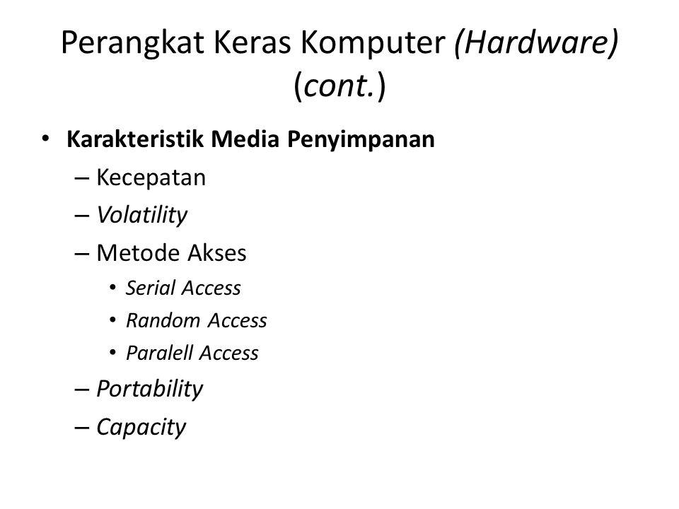 Perangkat Keras Komputer (Hardware) (cont.) Karakteristik Media Penyimpanan –K–Kecepatan –V–Volatility –M–Metode Akses Serial Access Random Access Paralell Access –P–Portability –C–Capacity