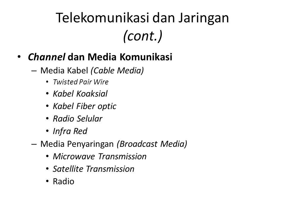 Telekomunikasi dan Jaringan (cont.) Channel dan Media Komunikasi –M–Media Kabel (Cable Media) Twisted Pair Wire Kabel Koaksial Kabel Fiber optic Radio Selular Infra Red –M–Media Penyaringan (Broadcast Media) Microwave Transmission Satellite Transmission Radio