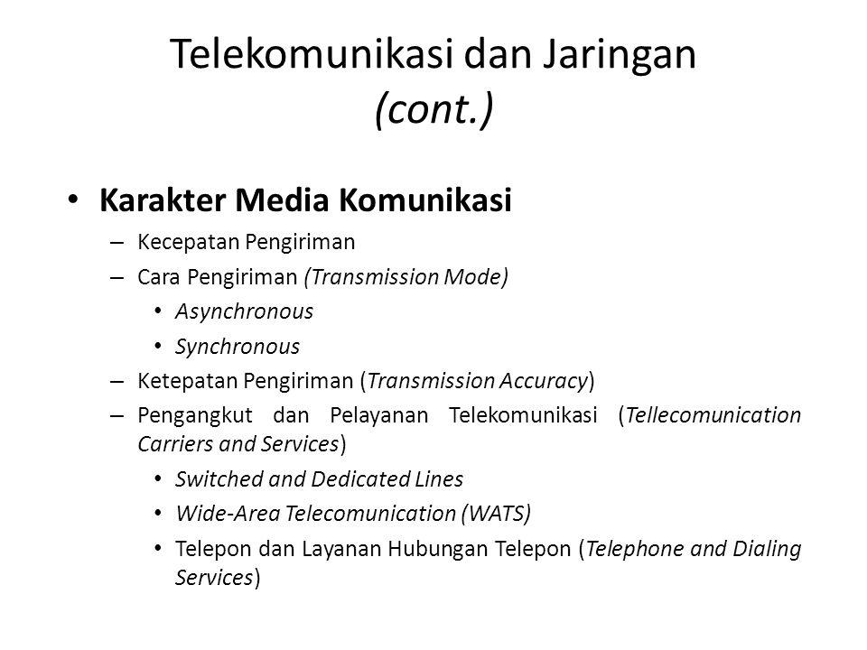 Karakter Media Komunikasi – Kecepatan Pengiriman – Cara Pengiriman (Transmission Mode) Asynchronous Synchronous – Ketepatan Pengiriman (Transmission A