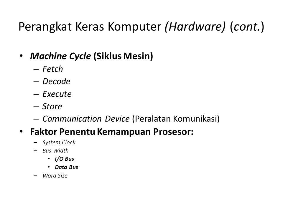 Perangkat Keras Komputer (Hardware) (cont.) Machine Cycle (Siklus Mesin) – Fetch – Decode – Execute – Store – Communication Device (Peralatan Komunikasi) Faktor Penentu Kemampuan Prosesor: – System Clock – Bus Width I/O Bus Data Bus – Word Size