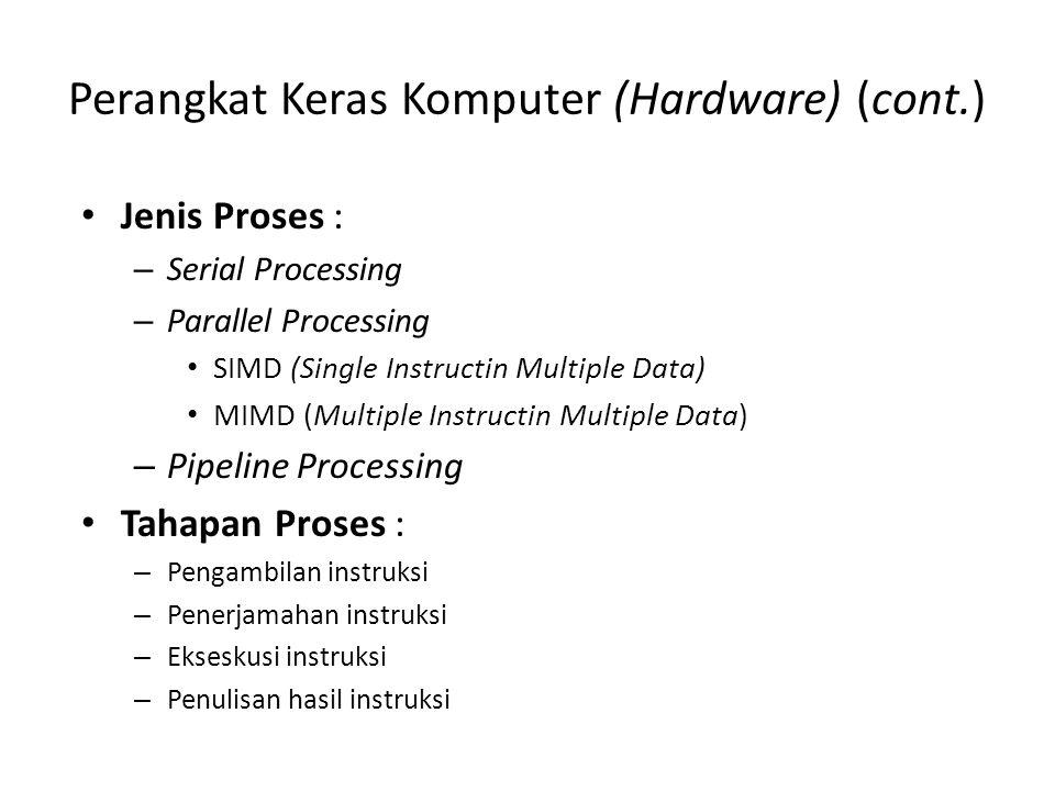 Perangkat Keras Komputer (Hardware) (cont.) Jenis Proses : – Serial Processing – Parallel Processing SIMD (Single Instructin Multiple Data) MIMD (Multiple Instructin Multiple Data) – Pipeline Processing Tahapan Proses : – Pengambilan instruksi – Penerjamahan instruksi – Ekseskusi instruksi – Penulisan hasil instruksi
