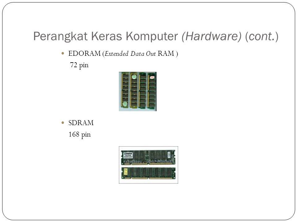 Perangkat Keras Komputer (Hardware) (cont.) EDORAM (Extended Data Out RAM ) 72 pin SDRAM 168 pin