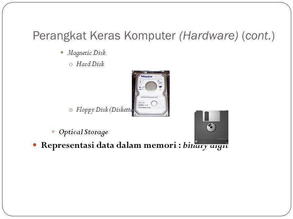 Perangkat Keras Komputer (Hardware) (cont.) Magnetic Disk oHard Disk oFloppy Disk (Diskette) Optical Storage Representasi data dalam memori : binary d
