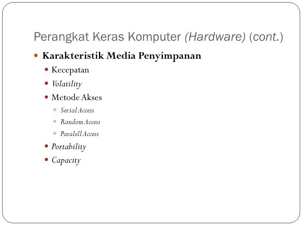Perangkat Keras Komputer (Hardware) (cont.) Karakteristik Media Penyimpanan Kecepatan Volatility Metode Akses Serial Access Random Access Paralell Acc
