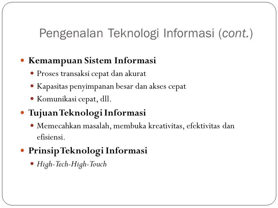 Pengenalan Teknologi Informasi (cont.) Kemampuan Sistem Informasi Proses transaksi cepat dan akurat Kapasitas penyimpanan besar dan akses cepat Komuni