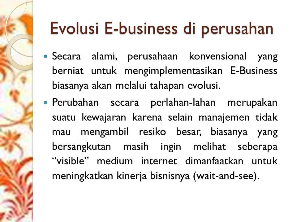 Evolusi E-business di perusahan Secara alami, perusahaan konvensional yang berniat untuk mengimplementasikan E-Business biasanya akan melalui tahapan evolusi.