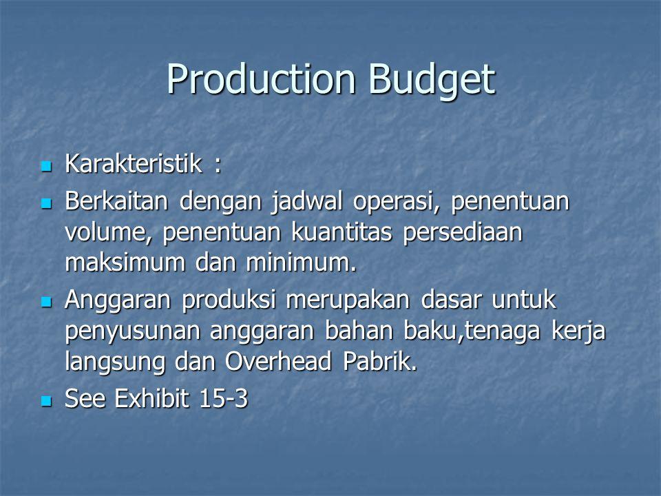 Production Budget Karakteristik : Karakteristik : Berkaitan dengan jadwal operasi, penentuan volume, penentuan kuantitas persediaan maksimum dan minim