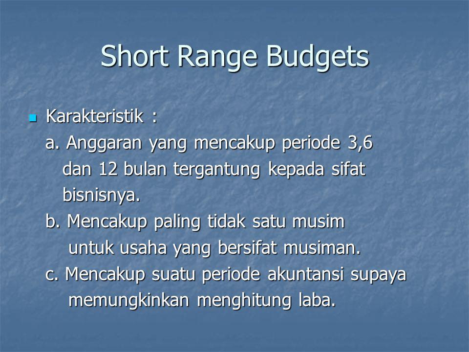 Short Range Budgets Karakteristik : Karakteristik : a. Anggaran yang mencakup periode 3,6 a. Anggaran yang mencakup periode 3,6 dan 12 bulan tergantun