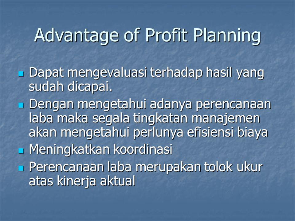 Advantage of Profit Planning Dapat mengevaluasi terhadap hasil yang sudah dicapai. Dapat mengevaluasi terhadap hasil yang sudah dicapai. Dengan menget