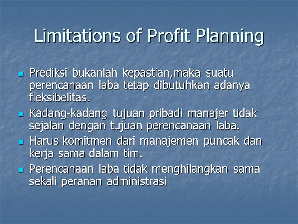 Limitations of Profit Planning Prediksi bukanlah kepastian,maka suatu perencanaan laba tetap dibutuhkan adanya fleksibelitas. Prediksi bukanlah kepast