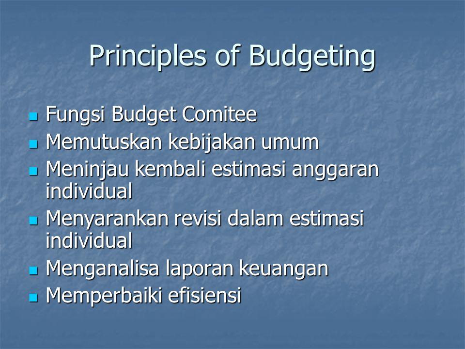 Principles of Budgeting Fungsi Budget Comitee Fungsi Budget Comitee Memutuskan kebijakan umum Memutuskan kebijakan umum Meninjau kembali estimasi angg