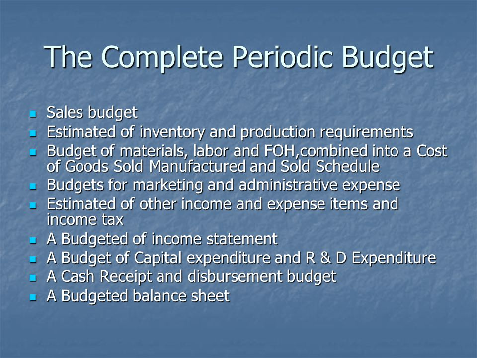 The Complete Periodic Budget Sales budget Sales budget Estimated of inventory and production requirements Estimated of inventory and production requir