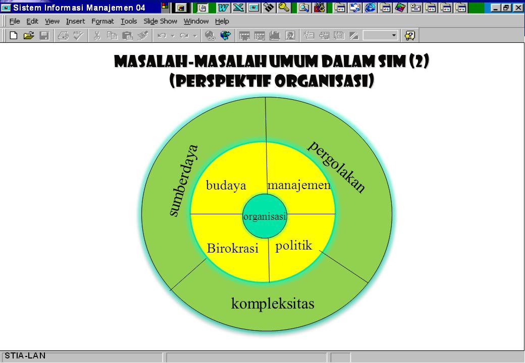 Masalah-masalah Umum dalam SIM (2) (Perspektif organisasi) organisasi kompleksitas pergolakan sumberdaya budaya manajemen Birokrasi politik