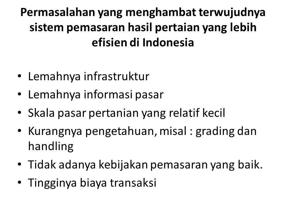 Permasalahan yang menghambat terwujudnya sistem pemasaran hasil pertaian yang lebih efisien di Indonesia Lemahnya infrastruktur Lemahnya informasi pas