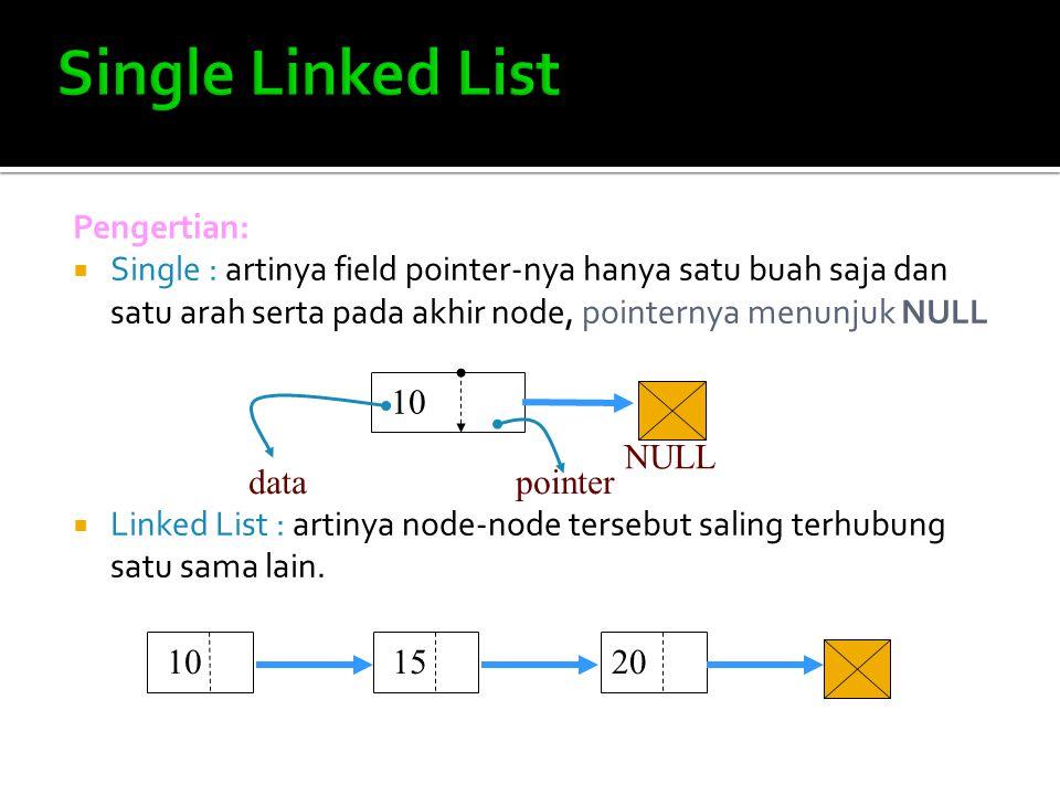 Pengertian:  Single : artinya field pointer-nya hanya satu buah saja dan satu arah serta pada akhir node, pointernya menunjuk NULL  Linked List : ar