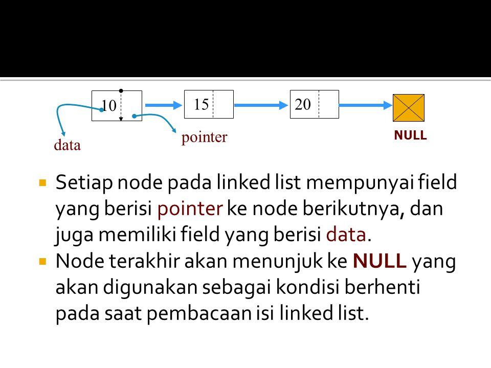  Setiap node pada linked list mempunyai field yang berisi pointer ke node berikutnya, dan juga memiliki field yang berisi data.  Node terakhir akan
