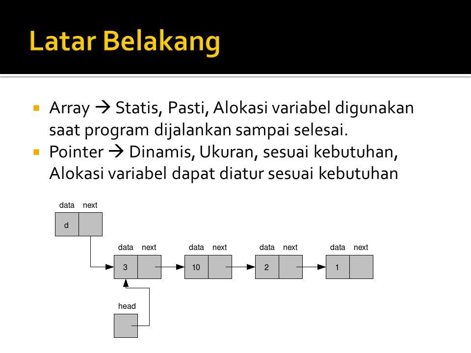  Array  Statis, Pasti, Alokasi variabel digunakan saat program dijalankan sampai selesai.  Pointer  Dinamis, Ukuran, sesuai kebutuhan, Alokasi var