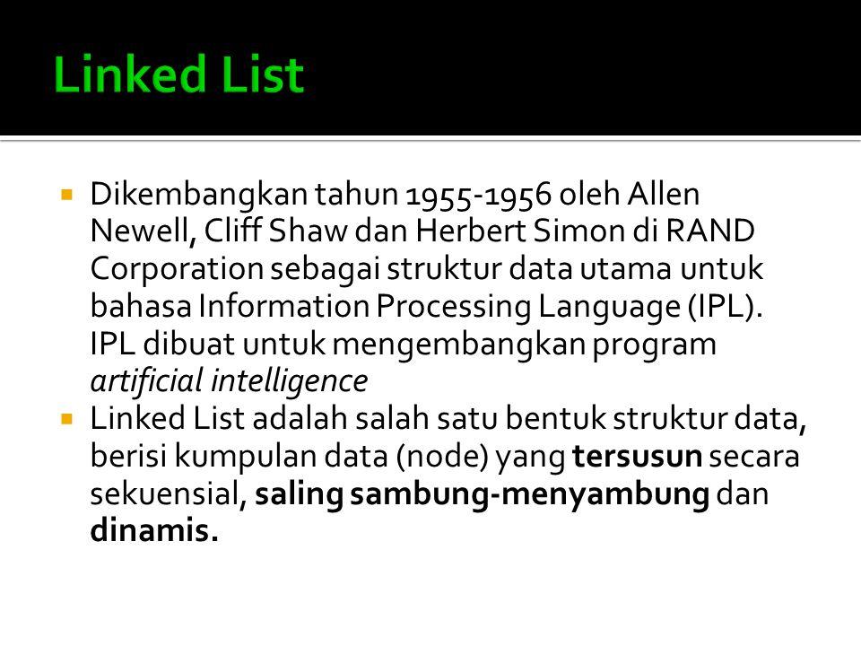  Linked List saling terhubung dengan bantuan variabel pointer  Masing-masing data dalam Linked List disebut dengan node (simpul) yang menempati alokasi memori secara dinamis dan biasanya berupa struct yang terdiri dari beberapa field.