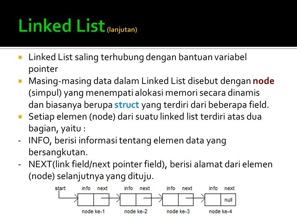  Linked List saling terhubung dengan bantuan variabel pointer  Masing-masing data dalam Linked List disebut dengan node (simpul) yang menempati alok