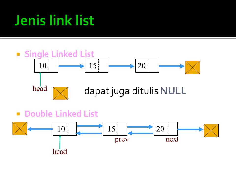 Pengertian:  Single : artinya field pointer-nya hanya satu buah saja dan satu arah serta pada akhir node, pointernya menunjuk NULL  Linked List : artinya node-node tersebut saling terhubung satu sama lain.