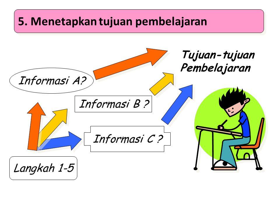 5. Menetapkan tujuan pembelajaran Langkah 1-5 Informasi A? Informasi B ? Informasi C ? Tujuan-tujuan Pembelajaran