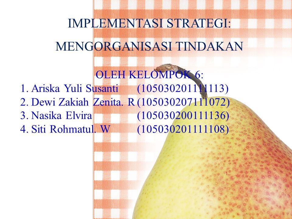 IMPLEMENTASI STRATEGI: MENGORGANISASI TINDAKAN OLEH KELOMPOK 6: 1.Ariska Yuli Susanti(105030201111113) 2.Dewi Zakiah Zenita.