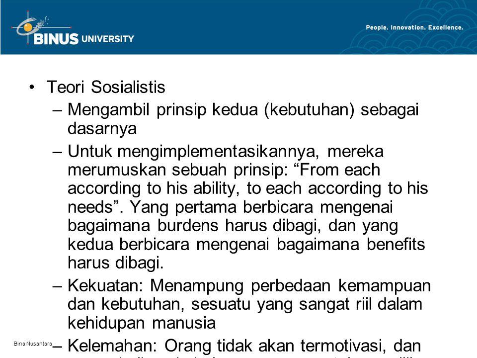 Bina Nusantara Teori Sosialistis –Mengambil prinsip kedua (kebutuhan) sebagai dasarnya –Untuk mengimplementasikannya, mereka merumuskan sebuah prinsip