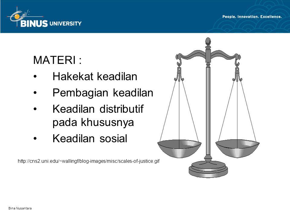 Bina Nusantara MATERI : Hakekat keadilan Pembagian keadilan Keadilan distributif pada khususnya Keadilan sosial http://cns2.uni.edu/~wallingf/blog-ima
