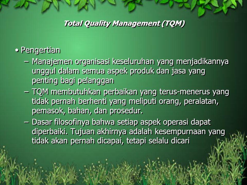Total Quality Management (TQM) Pengertian –Manajemen organisasi keseluruhan yang menjadikannya unggul dalam semua aspek produk dan jasa yang penting b
